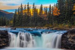 Sunrise over Sheep River falls. Sheep river Provincial Park, Alberta, Canada Stock Photo