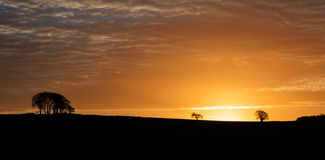 Sunrise over silouette landscape Royalty Free Stock Photo