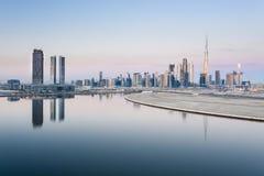 Sunrise over the skyline of Dubai Downtown stock photo