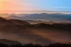 Sunrise over Smoky Mountains Royalty Free Stock Photos