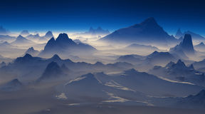 Sunrise over the snowcapped mountains. Stock Photo