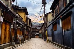 The Old Streets of Kyoto in the Early Morning royalty free stock photo