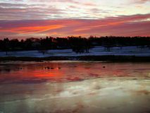 Sunrise over Southport Harbor, Connecticut Royalty Free Stock Photo