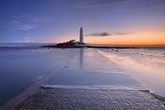 Sunrise over St. Mary's Lighthouse, Whitley Bay, England Stock Image