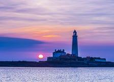 Sunrise over St Marys Lighthouse Royalty Free Stock Photos