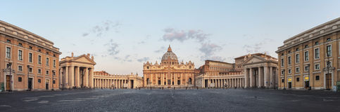 Sunrise over the St. Peters Basilica in Vatican City Stock Images