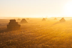 Sunrise over the stacks of straw Royalty Free Stock Photos
