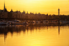 Sunrise over Stockholm, Sweden Royalty Free Stock Images