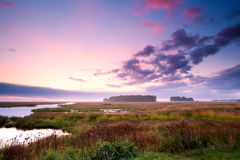 Sunrise over swamp. Colorful sunrise over swamp in Drenthe Stock Photos