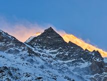 Sunrise over the swiss alps glacier stock photo
