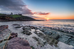 Sunrise over Talland Bay Royalty Free Stock Images