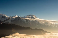 Sunrise over teh Annapurna mountain range in Nepal Royalty Free Stock Photography