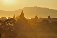 Sunrise over temples of Bagan Stock Photography