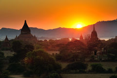Sunrise over temples of Bagan Royalty Free Stock Photography