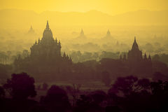 Sunrise over temples of Bagan Stock Image