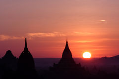 Sunrise Over Temples In Bagan2, Myanmar Royalty Free Stock Photo