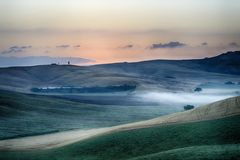 Sunrise Over The Crete Senesi Stock Photography