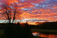 Free Sunrise Over The Lake On The Farm Royalty Free Stock Images - 109681349