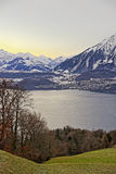 Sunrise over the Thun lake in Switzerland in winter Stock Photo