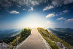 Sunrise over top of the mountain Lovcen at Montenegro stock image