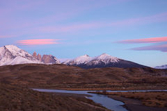 Sunrise over Torres del Paine Stock Photography