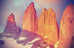 Sunrise over Torres del Paine mountains. Stock Images