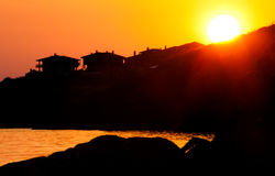 Sunrise over the tourist town of Sozopol, Black sea resort Royalty Free Stock Photo