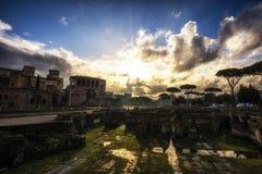 Sunrise over Trajan Forum Stock Photos