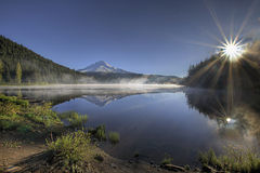 Sunrise over Trillium Lake Stock Photo