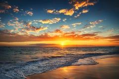 Sunrise over the tropical beach. Sunrise over the beach. Punta Cana Royalty Free Stock Photos