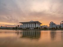 Sunrise over Tuanku Mizan Zainal Abidin Mosque, Putrajaya royalty free stock image