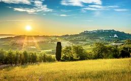 Sunrise over tuscan landscape Royalty Free Stock Photo