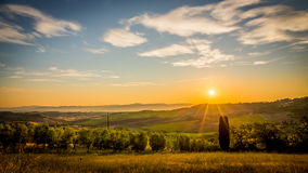 Sunrise over tuscan landscape Royalty Free Stock Image
