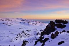 Mt Kilimanjaro, Tanzania. Sunrise over Uhuru peak, top of Kilimanjaro 5.895 m - highest mountain in Africa. Tanzania Stock Image