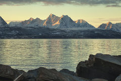 Sunrise over Ullsfjord and the Lyngen Alps Stock Images
