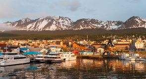 Sunrise over waterfront and city of Ushuaia, Argentina royalty free stock photography