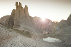 Sunrise over the Vajolet towers in Dolomites. Sunrise  over the Vajolet towers in Dolomites Royalty Free Stock Images