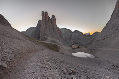 Sunrise over the Vajolet towers in Dolomites Stock Photo