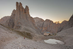 Sunrise over the Vajolet towers in Dolomites. Sunrise over the  Vajolet towers in Dolomites Stock Photos