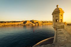 Sunrise over Valletta,Malta seen from Senglea. And Guardiola Gardens Stock Photography