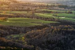 Sunrise over a valley in Arkansas stock image