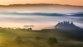 Sunrise over the valley of olive groves and vines Royalty Free Stock Photo