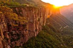 Sunrise over valley Stock Photos