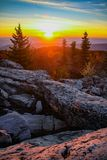 Sunrise over the Valley. Sunrise and mountain vistas at Bear Rocks in the Dolly Sods Wilderness Area in West Virginia Stock Photos