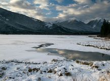 Sunrise over the Vermilion Lakes. In Improvement District Number 9 in Banff Royalty Free Stock Photography