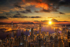 Sunrise over Victoria Harbor as viewed atop Victoria Peak Stock Photography