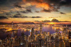 Sunrise over Victoria Harbor as viewed atop Victoria Peak Stock Photo