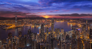 Sunrise over Victoria Harbor as viewed atop Victoria Peak Stock Photos