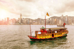 Sunrise Over Victoria Harbour in Hong Kong Royalty Free Stock Images