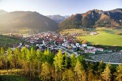 Sunrise over village Terchova, Slovakia Royalty Free Stock Photos